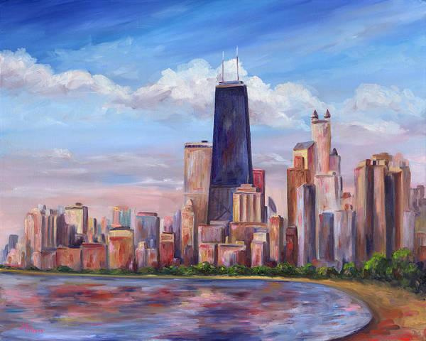 Chicago Art Print featuring the painting Chicago Skyline - John Hancock Tower by Jeff Pittman