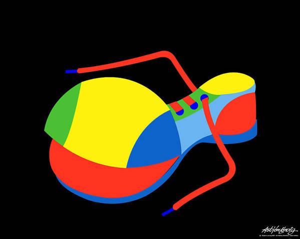 Clown Art Print featuring the digital art Clown Shoe by Asbjorn Lonvig