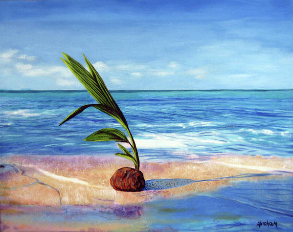 Ocean Art Print featuring the painting Coconut on beach by Jose Manuel Abraham