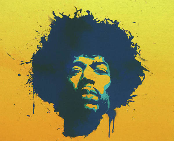 Jimi Art Print featuring the painting Colorful Hendrix Pop Art by Dan Sproul