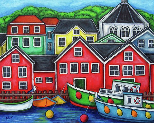 Nova Scotia Art Print featuring the painting Colours of Lunenburg by Lisa Lorenz