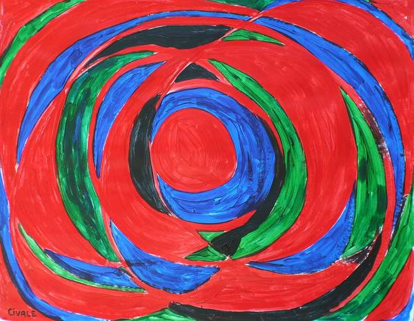 Abstract Art Print featuring the painting Concentric by Biagio Civale