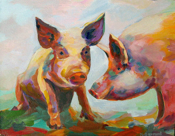 Pigs Art Print featuring the painting Consultation by Naomi Gerrard