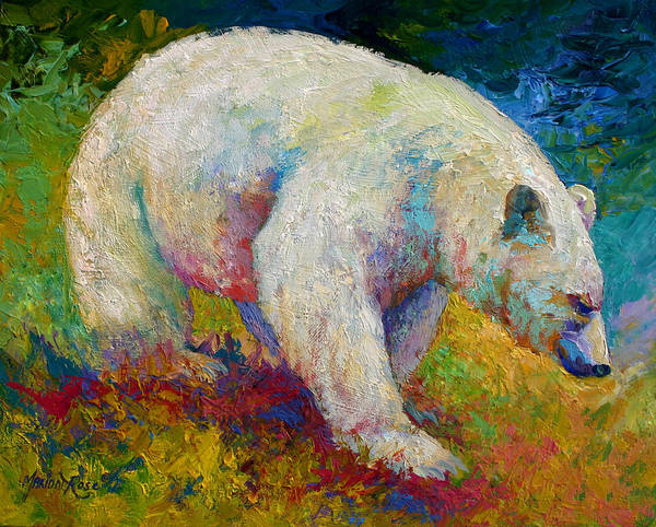 Western Art Print featuring the painting Creamy Vanilla - Kermode Spirit Bear Of BC by Marion Rose