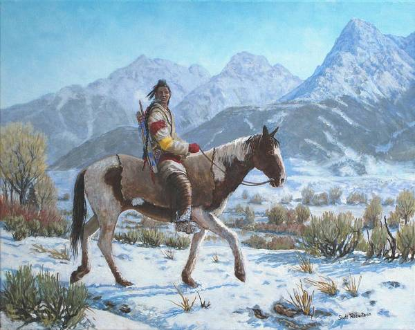 Crow Warrior Art Print featuring the painting Crow on the Yellowstone river by Scott Robertson