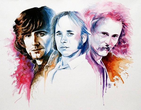 David Crosby Art Print featuring the painting CSN by Ken Meyer jr