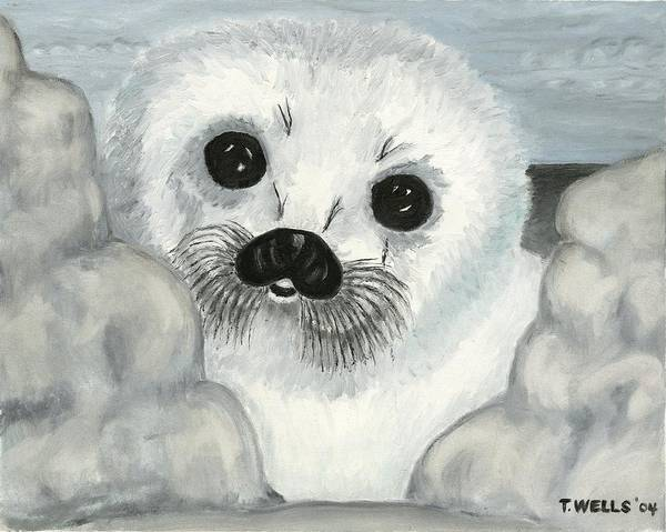A Curious Arctic Seal Pup Peeking Through Icebergs Art Print featuring the painting Curious Arctic Seal Pup by Tanna Lee M Wells