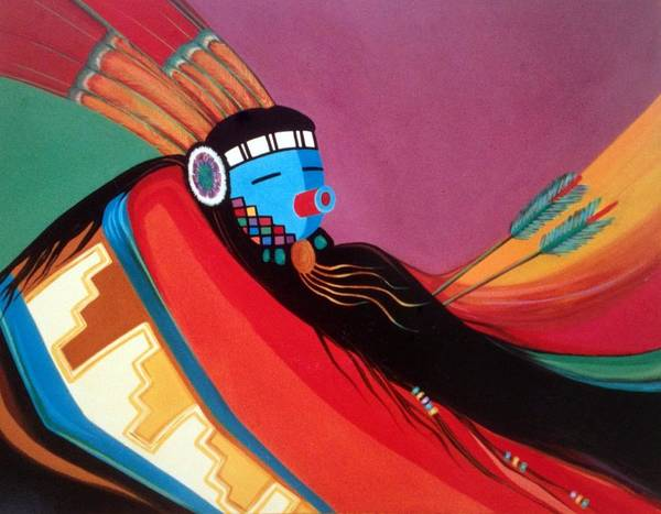 Kachina Art Print featuring the painting Custom Kachina by Marlene Burns