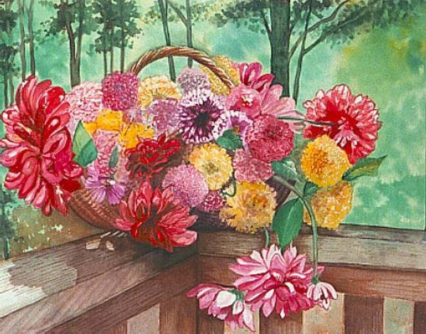 Dahlias Art Print featuring the painting Dahlia Harvest by Rebecca Marona
