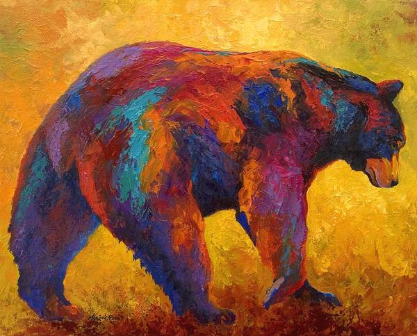 Bear Art Print featuring the painting Daily Rounds - Black Bear by Marion Rose