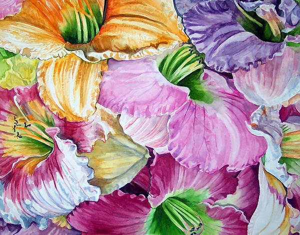 Lillies Art Print featuring the print Daylillies by Bette Gray