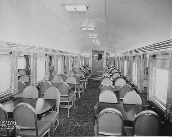 Passenger Cars Art Print featuring the photograph Dining Car Interior by Chicago and North Western Historical Society