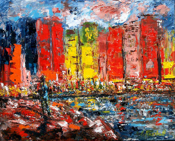 Abstract Art Print featuring the painting Dock By The Bay by Claude Marshall