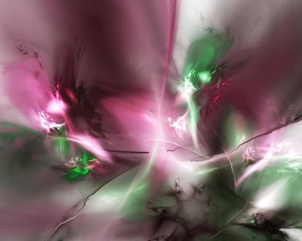 Fractal Art Print featuring the digital art Dreaming in Red and Green by David Lane