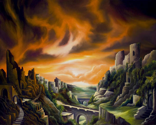 Ruins; Cityscape; Landscape; Nightmare; Horror; Power; Roman; City; World; Lost Empire; Dramatic; Sky; Red; Blue; Green; Scenic; Serene; Color; Vibrant; Contemporary; Greece; Stone; Rocks; Castle; Fantasy; Fire; Yellow; Tree; Bush Art Print featuring the painting DualLands by James Christopher Hill