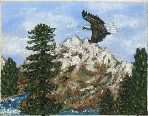 Eagle In Flight To Its Nest With Montana Mountains In Background Art Print featuring the painting Eagle to Eaglets in Nest by Tanna Lee M Wells