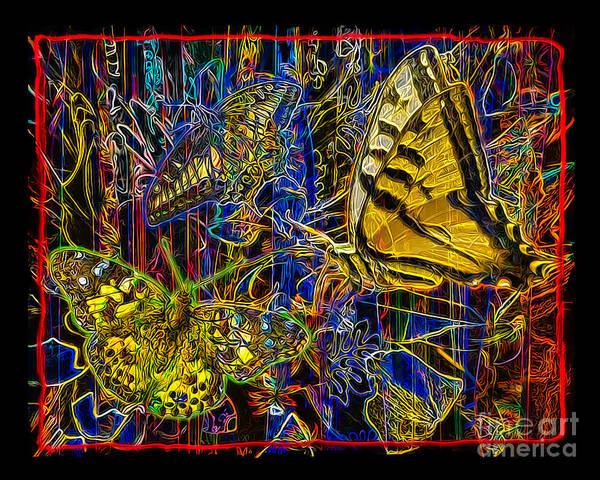 Butterfly Art Print featuring the digital art Electric Butterflies by Chuck Brittenham