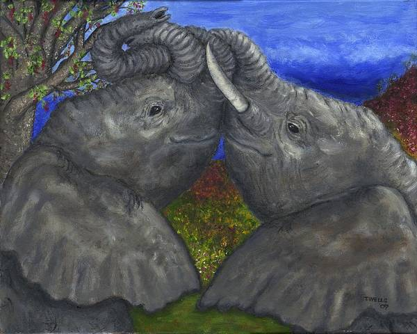 Elephants Art Print featuring the painting Elephant Hugs by Tanna Lee M Wells