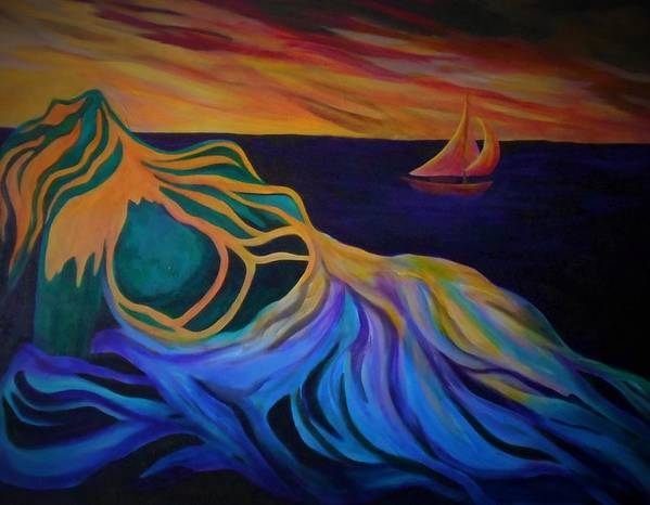 Woman Art Print featuring the painting Emergence by Carolyn LeGrand