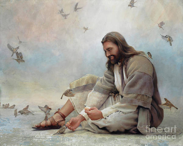 Jesus Art Print featuring the painting Even A Sparrow by Greg Olsen