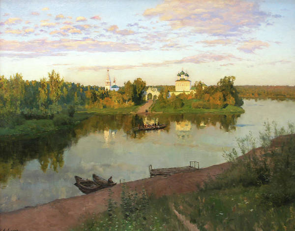 Isaac Levitan Art Print featuring the painting Evening Bells by Isaac Levitan