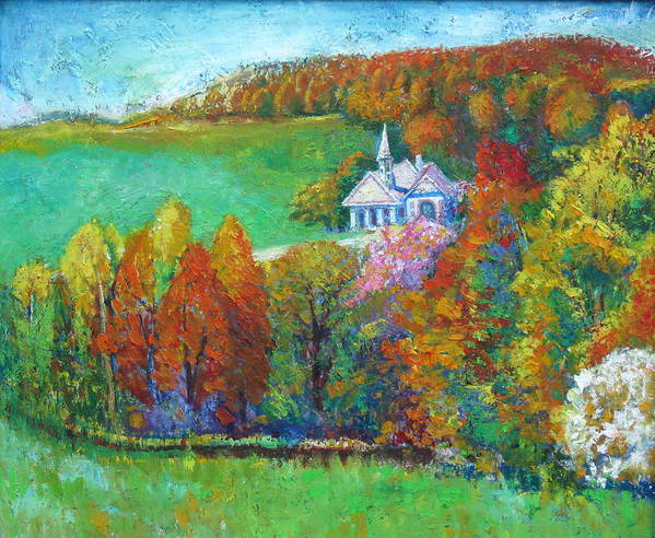 Fall Art Print featuring the painting Fall Scene by Meihua Lu