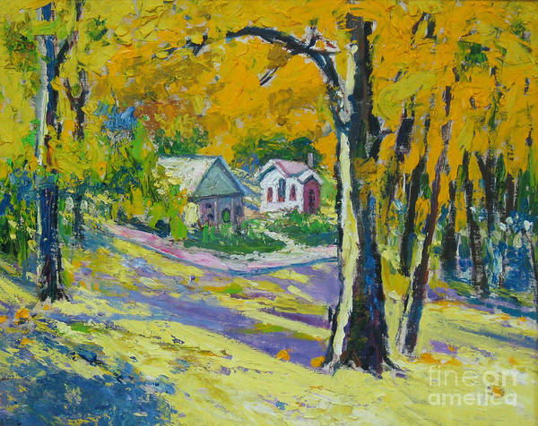 Trees Art Print featuring the painting Fall scenery by Meihua Lu