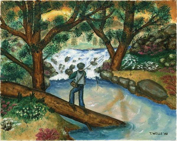 Fisherman Fly Fishing In A Sunny Stream Art Print featuring the painting Fishing the Sunny River by Tanna Lee M Wells
