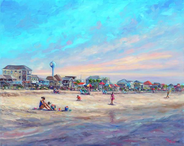Folly Beach Art Print featuring the painting Folly Beach South Carolina by Jeff Pittman
