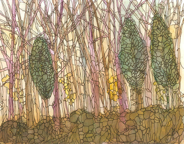 Forest Art Print featuring the painting Forest 4 by Katie Ree