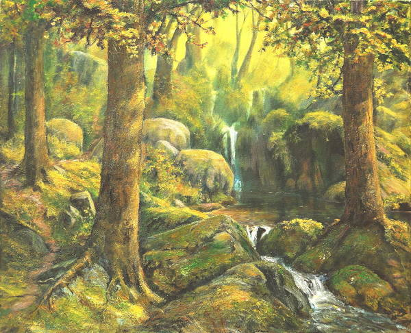 Landscape Art Print featuring the painting Forest Enchantment by Craig shanti Mackinnon
