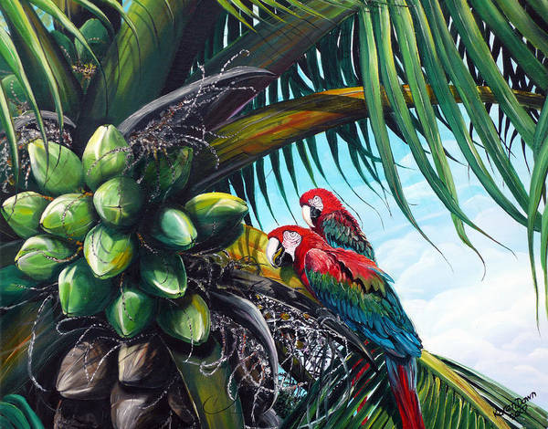 Macaws Bird Painting Coconut Palm Tree Painting Parrots Caribbean Painting Tropical Painting Coconuts Painting Palm Tree Greeting Card Painting Art Print featuring the painting Friends Of A Feather by Karin Dawn Kelshall- Best