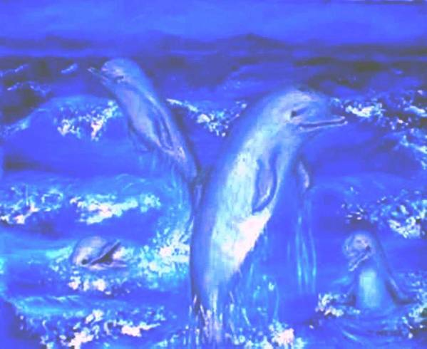Dolphins Frolicking Ocean Blues Art Print featuring the painting Frolicking Dolphins by Tanna Lee M Wells
