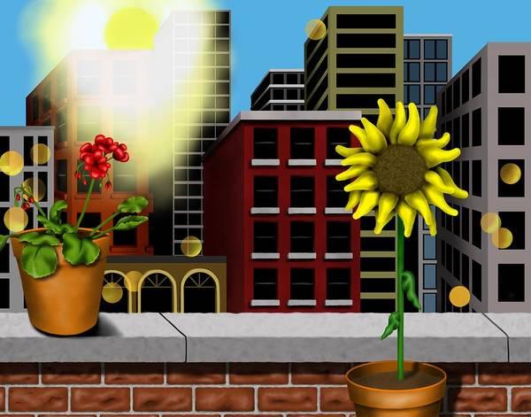 Surrealism Art Print featuring the digital art Garden Landscape II - Across The Urban Jungle by Robert Morin