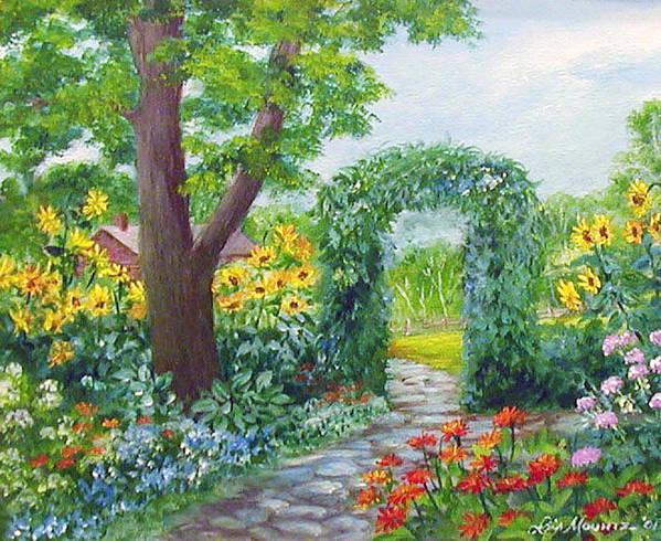 Landscape;garden;sunflowers;archway;stone Path;summer; Art Print featuring the painting Garden with Sunflowers by Lois Mountz