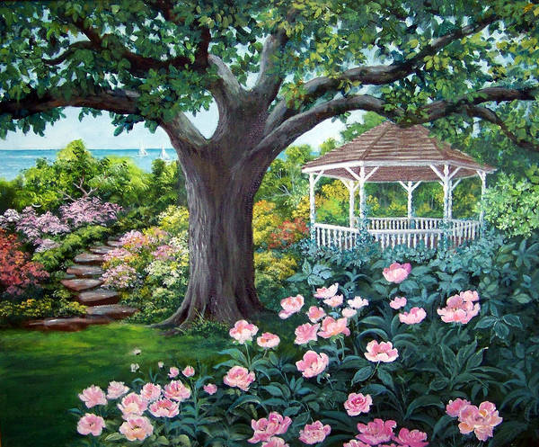 Landscape;acrylic Painting;gazebo;peonies;garden;garden Walk;lake;sailboats;shady Tree; Art Print featuring the painting Gazebo by the Lake by Lois Mountz