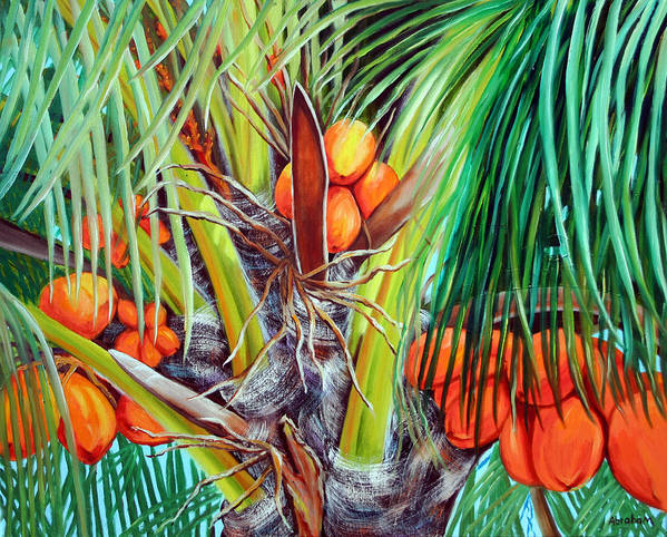 Coconuts Art Print featuring the painting Golden Coconuts by Jose Manuel Abraham