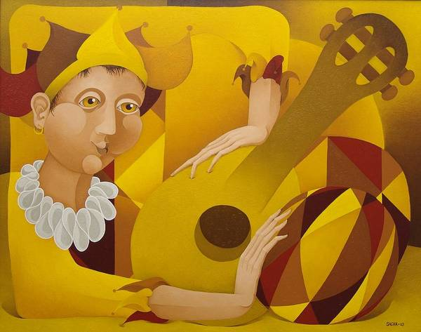 Sacha Art Print featuring the painting Harlequin with Lute 2003 by S A C H A - Circulism Technique