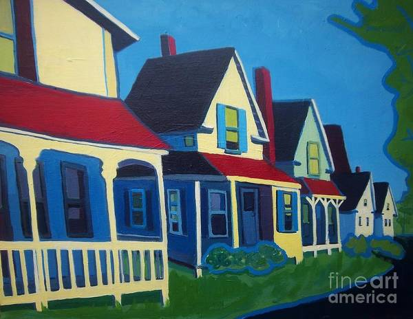Maine Art Print featuring the painting Harpswell Cottages by Debra Bretton Robinson