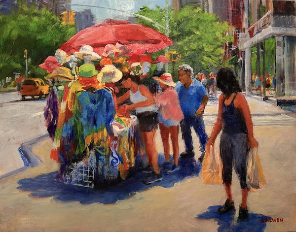 Landscape Art Print featuring the painting Hats, Scarves And Sunlight On Broadway by Peter Salwen