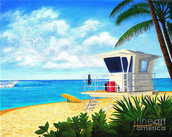 Hawaii Art Print featuring the painting Hawaii North Shore Banzai Pipeline by Jerome Stumphauzer