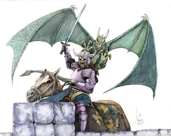 Knights Demons Dragons Wizards Magic Pagan Festival Art Print featuring the mixed media Hector by Preston Shupp