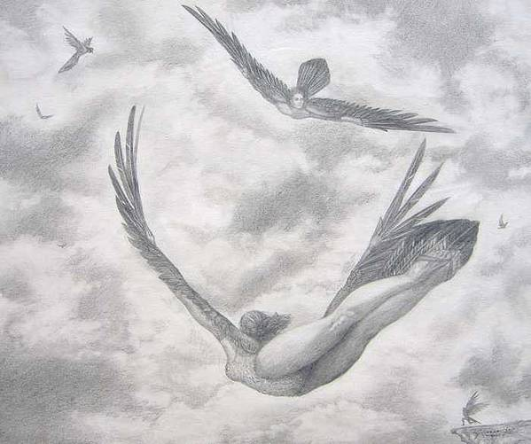 People Flying Art Print featuring the drawing Icarus Suits by Julianna Ziegler