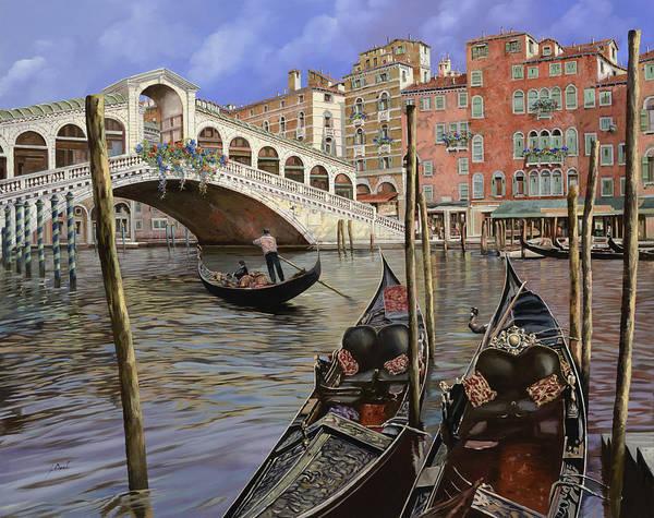 Venice Art Print featuring the painting Il Ponte Di Rialto by Guido Borelli