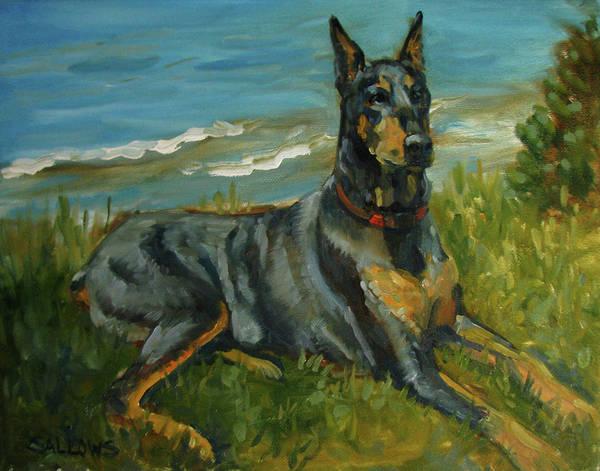 Doberman Pinscher Art Print featuring the painting Jake a Doberman Pinscher by Nora Sallows