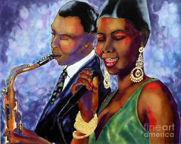 Silk Art Print featuring the painting Jazz Duet by Linda Marcille