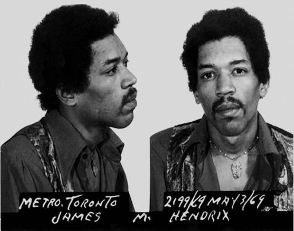 Jimi Hendrix Art Print featuring the painting Jimi Hendrix Mug Shot Horizontal by Tony Rubino