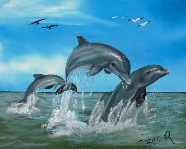 Dolphins Art Print featuring the painting Joyful Trio by Darlene Green