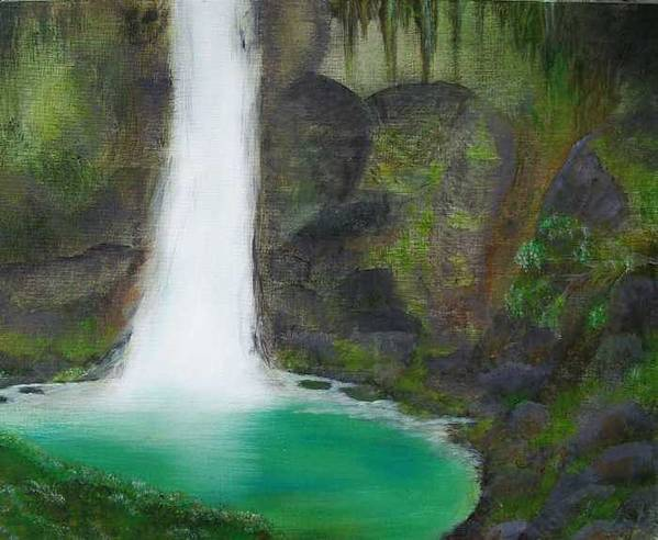Waterfall Art Print featuring the painting Juana Falls by Tony Rodriguez