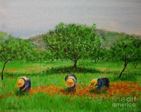 Club Diario De Ibiza Art Print featuring the painting Ladies In Poppy Fields Ibiza by Lizzy Forrester